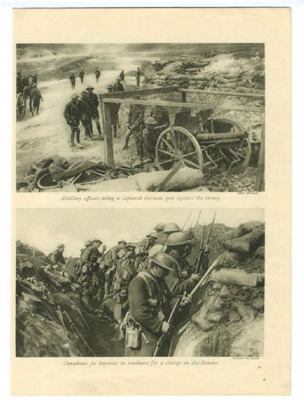 1916 WW1 Print CANADIANS on The Somme ARMED Cap-a-pie ADVANCE Bayonets Fixed TRENCHES